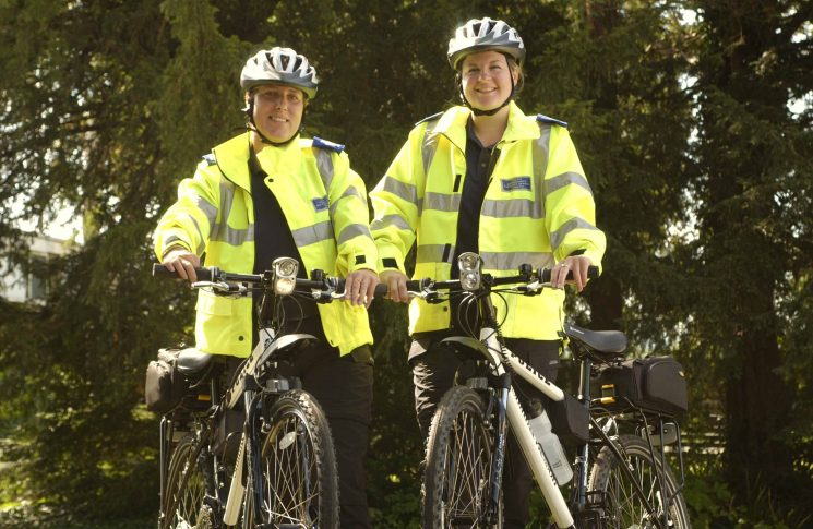 Police Community Support Officers on bicycle patrol. (Gloucestershire Police Archives URN 2560)