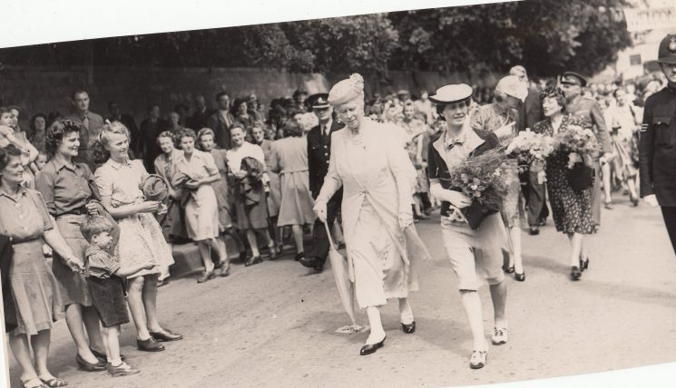Queen Mary walking through Winchcombe 1944. (Gloucestershire Police Archive URN 2398)