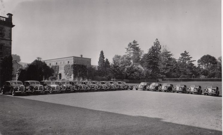 Riley 16 2.5 patrol cars at Cowley Manor. (Gloucestershire Police Archives URN 2104-1)