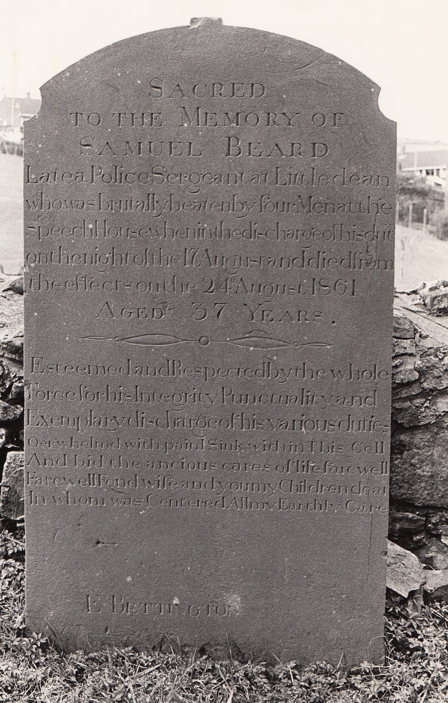 Gravestone of Sergeant Samuel Beard murdered in the Forest of Dean.