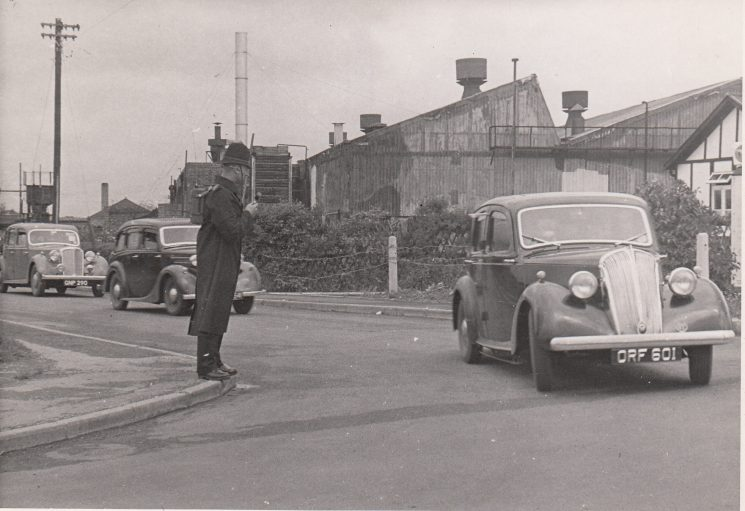Using a walkie talkie probably in the early 1960s. (Gloucestershire Police Archives URN 2077)