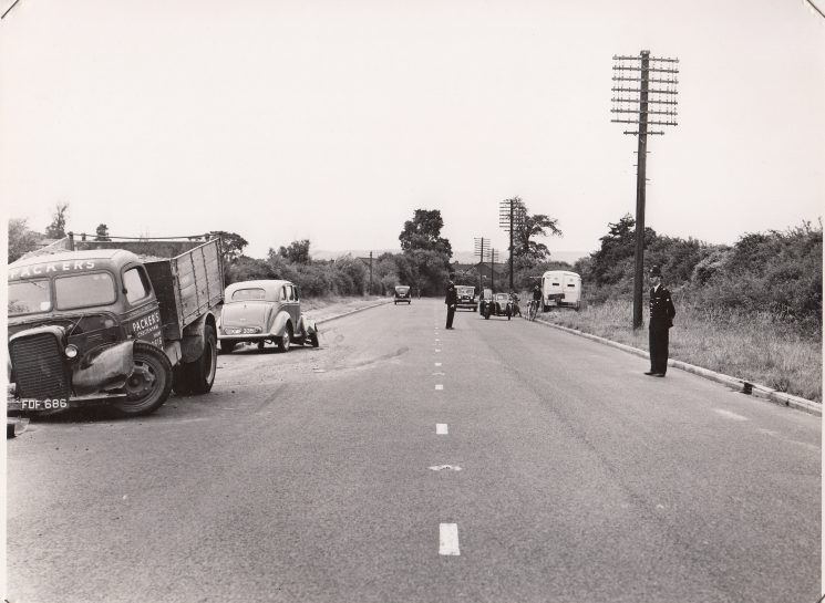 Road Accident taken outside the entrance to Benhall Farm on Gloucester Road Cheltenham mid 1950s. (Gloucestershire Police Archives URN 2562)