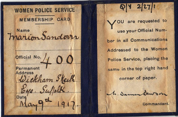 Women Police Service Membership Card dated 1917 belonging to Gloucestershire Woman Police Constable Marion Sandover. (Gloucestershire Police Archives URN 2119)