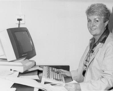 Mrs Pat Stanton Central Ticket Office Supervisor at Central Ticket Office Barton Street. 1980s. (Gloucestershire Police Archives URN 681 )
