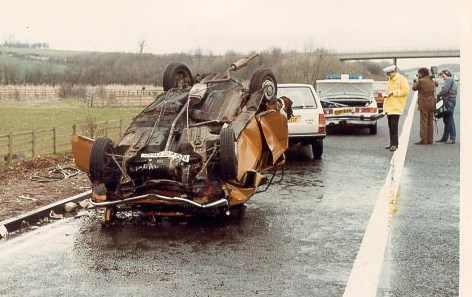 Police Patrol Car  on M5 motorway at scene of Road Traffic Accident - Patrol car damaged. (Gloucestershire Police Archives URN 685)