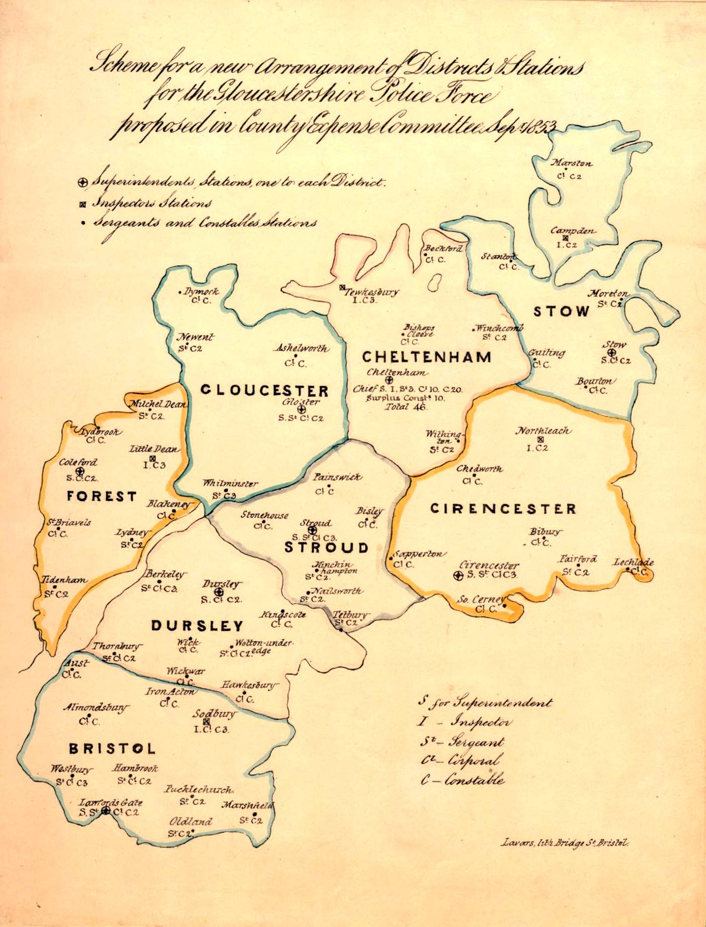 Districts and Stations of Gloucestershire Police in September 1853 and establishment at each station. (Gloucestershire Police Archives URN 10)