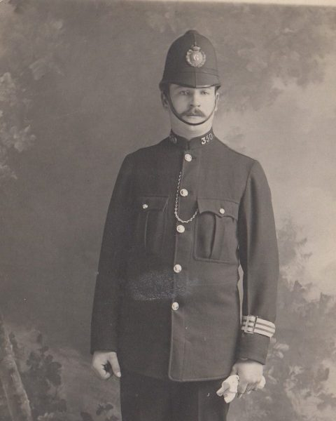 Police Constable 350 Walter J Lafford. On leaving the armed forces at the end of World War 1, he returned to farm labouring but with marriage on the horizon he decided he needed a better income. He successfully took a written exam and attended a interview with the Gloucestershire Constabulary and became Police Constable 350. He served at Northleach, Cheltenham, Pilning and finally Wickwar. (Gloucestershire Police Archives URN 2105) | Further information from Rodney Lafford