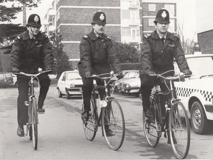 Cycle patrol for the races left to right: Police Constables John Basford, Tim Pennington, Police Sergeant Jerry Blythe. (Gloucestershire Police Archives URN 2096)