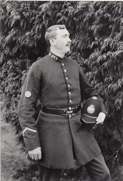 Police Constable 365  believed to be John Shellswell joined in 1892, (Gloucestershire Police Archives URN 2099)