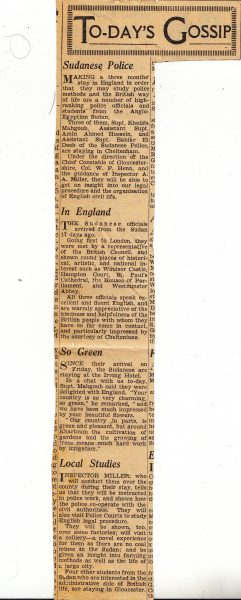 Newspaper report  of visit of Sudanese police to United Kingdom to see British policing methods, 1945. (Gloucestershire Police Archives URN 2089-3)