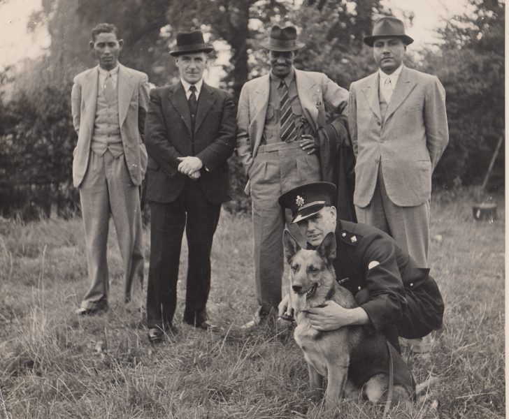 Visit of Sudanese police to United Kingdom to see British policing methods, 1945. Second from left Inspector A.A. Miller and Inspector Greenall kneeling. (Gloucestershire Police Archives URN 2089-1)
