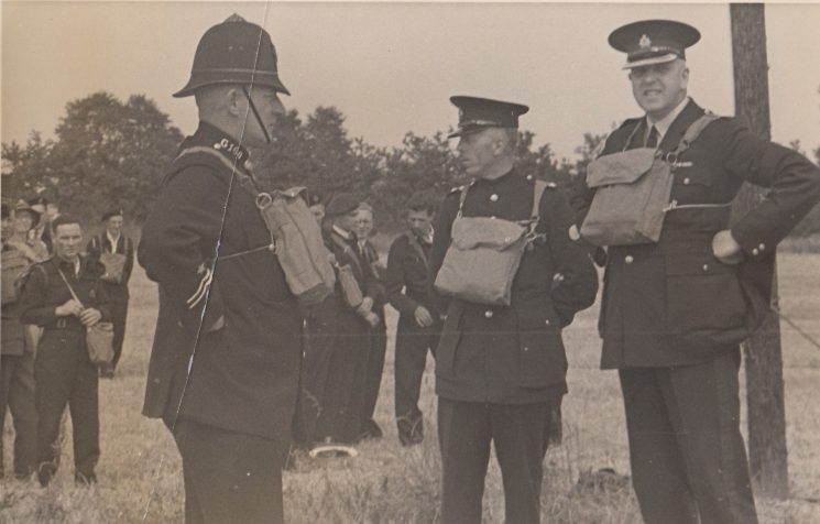 World War II training Parkway 1943. Left to Right: Unknown Police Constable 160 (in-charge officer); Inspector Ted Brent (?); Superintendent AH Carter. In centre background: unknown; Police Constable John Gardner (?); Police Constable Eric Jenkins (?) (Gloucestershire Police Archives URN 2094)