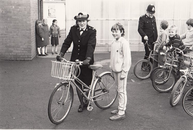 Police Constable and Woman Police Constable Trish Fawcett cycle testing late 1970s early 1980s. (Gloucestershire Police Archives URN 2086)
