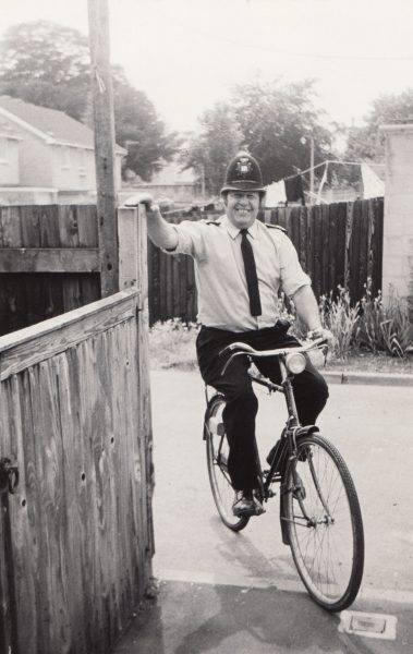 Police Constable 614 Ted Moore doing his beat on a bike Cirencester 1979. (Gloucestershire Police Archives URN 2087)
