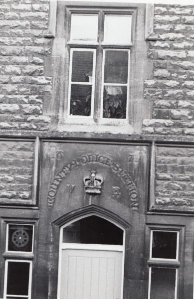 Front door of Chipping Campden police station with County Police Station, crown &  date 1871 carved in stone above (Gloucestershire Police Archives URN 2088)