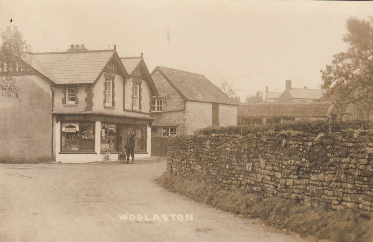 Police Constable Beddis outside Higgs shop Woolaston (Gloucestershire Police Archives URN 2078-1)