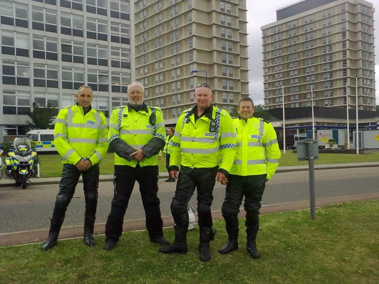 Four Gloucestershire motorcyclists at the national BikeSafe show 2009, hosted by the Metropolitan Police at Hendon. Left to right - Police Constables  Richard Kent, Martyn Hillier, Simon Meredith & Andy Baker. (Gloucestershire Police Archives URN 2163) | Photograph from Martyn Hillier