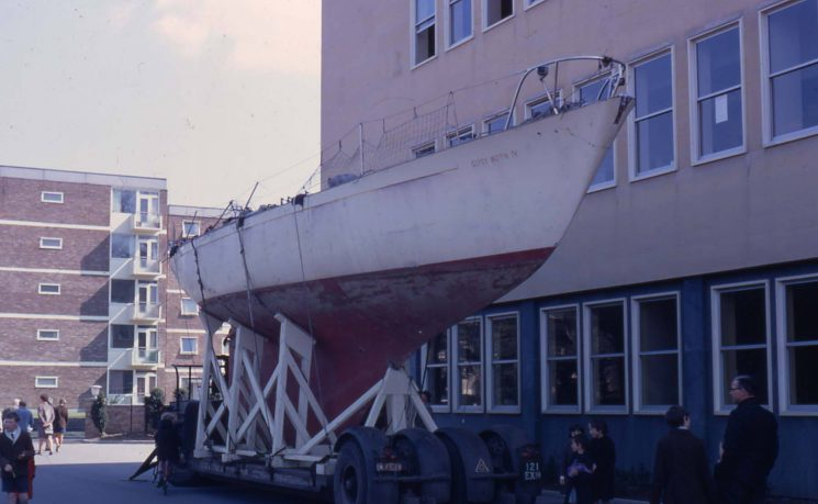 In 1968 Sir Francis Chichester sailed single-handed around the world in his yacht Gipsy Moth IV, completing his journey in 274 days. The yacht was taken around the country and displayed in major towns & cities.Here she is on that trip, outside Talbot House, where she was on display, & kept safe overnight, before resuming her journey next day. (Gloucestershire Police Archives URN 2169)    Photograph from Martyn Hillier