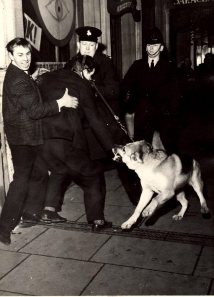 Eastgate Street Gloucester  New Years Eve 1963 /4 Police Constable Geoff Price. (Gloucestershire Police Archives URN 2133) | Photograph from Pete Kilbey