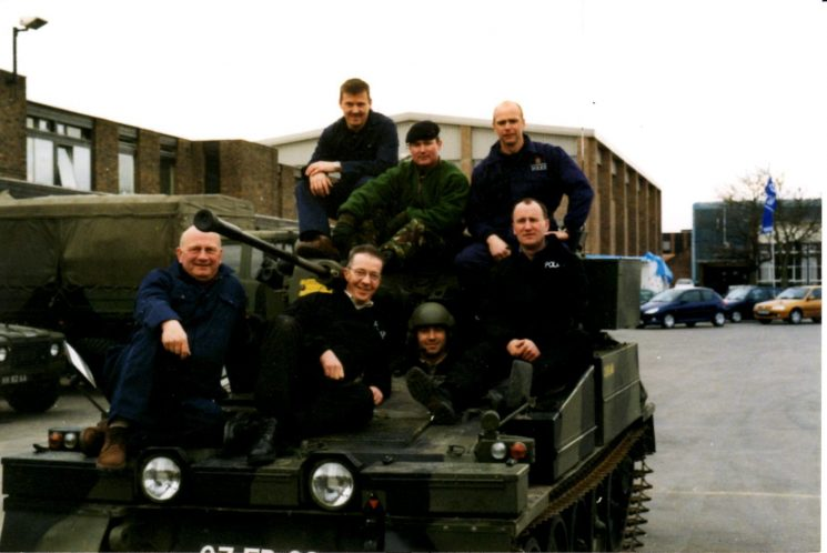 Firearms team had a four day visit to Combermere Barracks the home of the Household Cavalry. Front: Pete Kilbey ; Mike Morris; John Appleby. Back: David Pearce, Martin Fowler. (Gloucestershire Police Archives URN 2131)   Photograph from Pete Kilbey