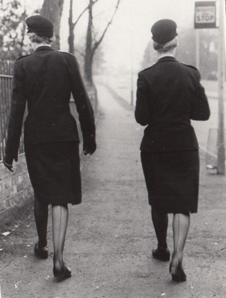 Women Police Constables, possibly Winifred Norman (left) and Margaret Hall, on patrol 1960s? (Gloucestershire Police Archives URN 2092)