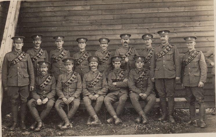 Royal Garrison Artillery. Police Sergeant Harding and Police Constable Newport in photo but not identified. Cyril Reginald Harding  appears to be the man third from left in the front row, holding the riding whip. This will indicate that he is a driver (as opposed to a gunner). Both Harding and Newport joined 129 Heavy Battery of the  Royal Garrison Artillery, raised in Bristol and known as the