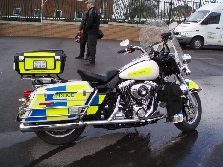 When Gloucestershire hosted the national 2005 BikeSafe show at Cheltenham racecourse, the bikes on show included a police specification Harley-Davidson an unusual sight on the roads of the United Kingdom. (Gloucestershire Police Archives URN 2167-1) | Photograph from Martyn Hillier