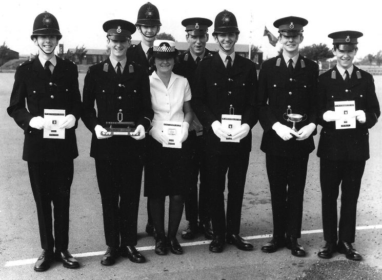 Left to right Steve Spencer (son of the late Ron Spencer see URN 196 and URN 456 ) Shaun Painting, Alan Williams, Colin Pilsworth, John Hammond, Mike Fitter & Simon Moulding. The Woman Police Constable is Sue Davis. (Gloucestershire Police Archives URN 2206) | Photograph from Martyn Hillier
