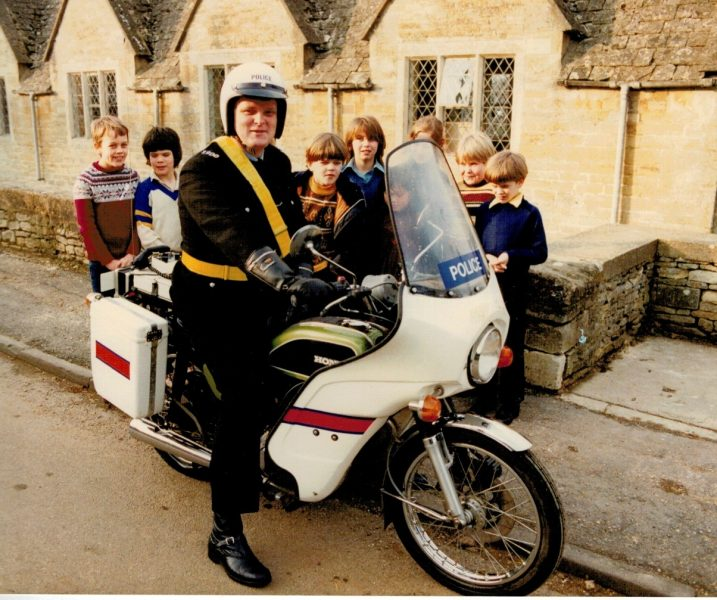 Police Constable Chris Slinn, officer in charge at Sapperton, near Cirencester, seen here on his Honda CB200 motorcycle, in the early 1990s. (Gloucestershire Police Archives URN 2168)  | Photograph from Martyn Hillier