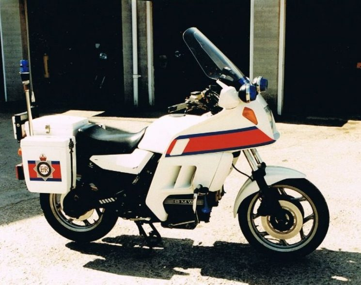 A BMW K100 motorcycle J82 CVJ, seen here at in 1992. (Gloucestershire Police Archives URN 2167-2)  | Photograph from Martyn Hillier
