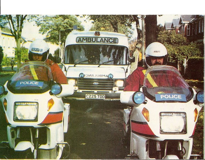 A posed shot for the press, in Queens Road, Cheltenham 1987. The first issue in Gloucestershire of BMW 1,000cc K100 motorcycles. Police Constables  Steve Irvin and Bob Addis. (Gloucestershire Police Archives URN 2207) | Photograph from Martyn Hillier