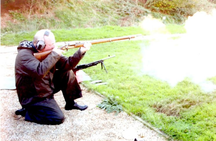 Firing a musket at Stoke Orchard. (Gloucestershire Police Archives URN 2142)   Photograph from Pete Kilbey