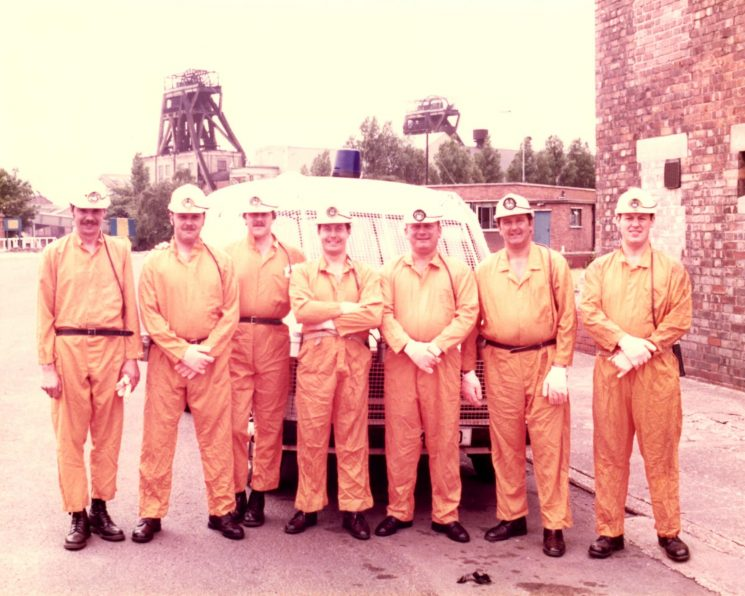 Haworth Colliery June 1984 Left to right; Mike Tranter; John Larner; Graham Stevens; Roy Molson; Pete Kilbey; Bob Creed; Kazimierz (Kas) Dabrowski. (Gloucestershire Police Archives URN 2136) | Photograph from Pete Kilbey