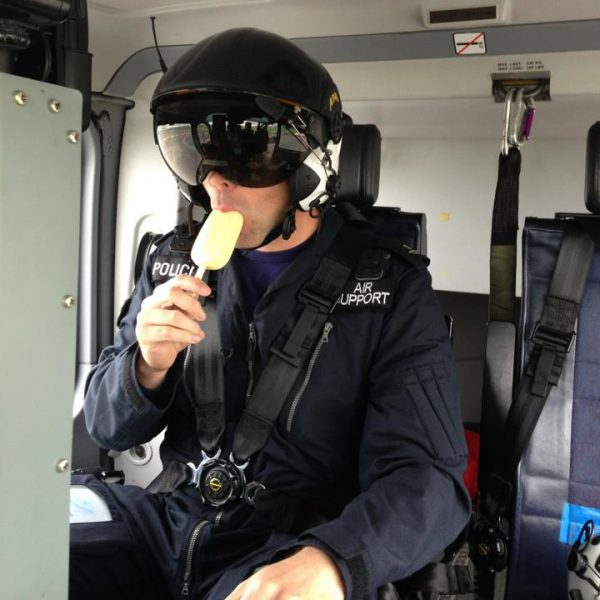 Police Constable Lloyd Birch, of the Air Support Unit based at Filton, takes some refreshment…….. (Gloucestershire Police Archives URN 2205) | Photograph from Martyn Hillier