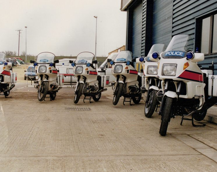 In with the new. The last of the BMW R80s are replaced with K-Series. 01/03/1991 A287HAD, A446LAD & A443LAD replaced by H27 - H29JAD (Gloucestershire Police Archives URN 2265) | Photograph from Martyn Hillier