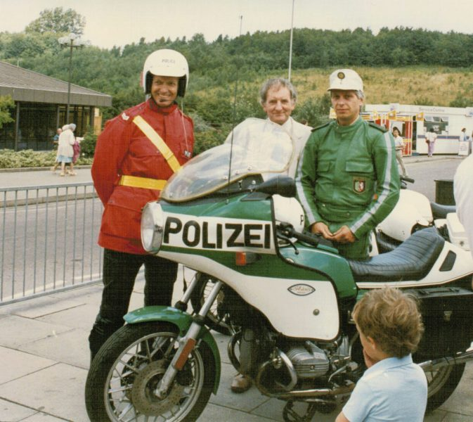 As part of an European-wide road safety campaign, a German officer, from Cologne, was guided around Europe, from country to country and  force to Force. Here he is on the M5 Michaelwood southbound services, with Police Sergeant 777 Colin Moore, before leaving for London via the M5/M4 (Gloucestershire Police Archives URN 2266) | Photograph from Martyn Hillier