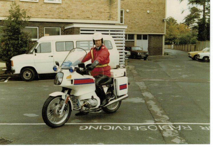 Police Sergeant Colin Moore on a new BMW R80RT in 1983 (Gloucestershire Police Archives URN 2267) | Photograph from Martyn Hillier