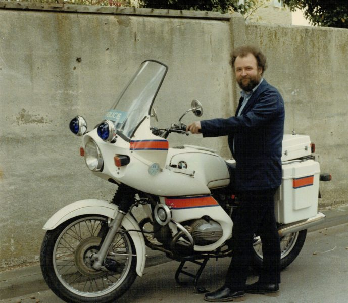 Mike Rowles, then the Motorcycle Workshop foreman, with one of the BMW R75/7s purchased in 1977. (Gloucestershire Police Archives URN 2270) | Photograph from Martyn Hillier