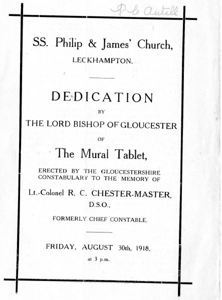 Front Cover (Gloucestershire Police Archives URN 2315)