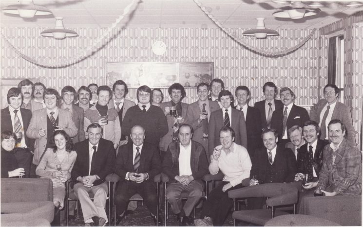 Criminal Investigation Department late 1970s Back row, left  to right;  Phil John, Brian Cole, Wayne Murdoch, Keith Hodges, Trevor Gladding, Phil Shore-Nye, Gerry Watters, Dave Chamberlain, John Horran, Clive Field, Tim Gisborne, Dave Winstanley, Geoff Morgan, Kaz Dabrowski, Neil McCart, Joe Taylor, Tony Long, Ricky Hall, Paul Boak. Seated from the left, Sue Hillier, Miriam Beard, Pete Scott, Colin Eynon, Dave Davies, Clive Randall, Mike Wilson, Trevor Attwood, Chuck Farrell and Barry Durow. (Gloucestershire Police Archives URN 2304)