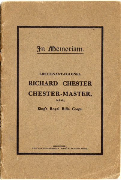 Front cover of In Memoriam booklet produced on the death of  Lieutenant  Colonel Chester Master. (Gloucestershire Police Archives URN 2324)