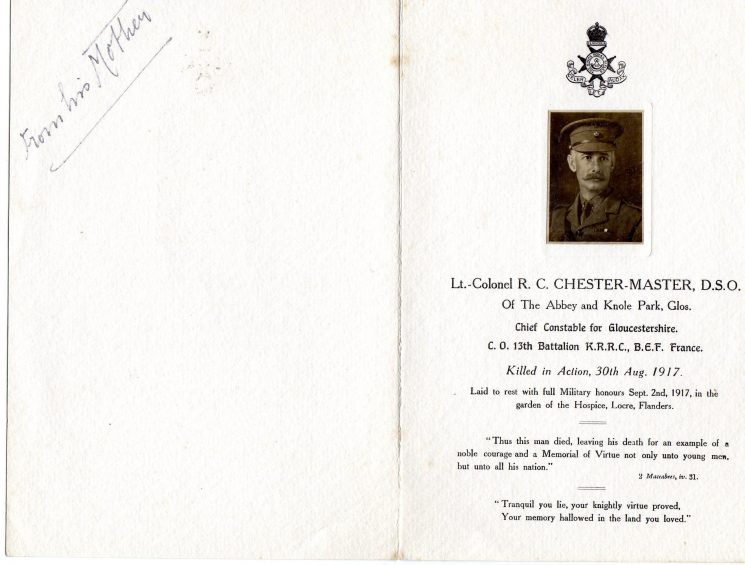 Memorial card for Lieutenant Colonel Chester Master. (Gloucestershire Police Archives URN 2311)