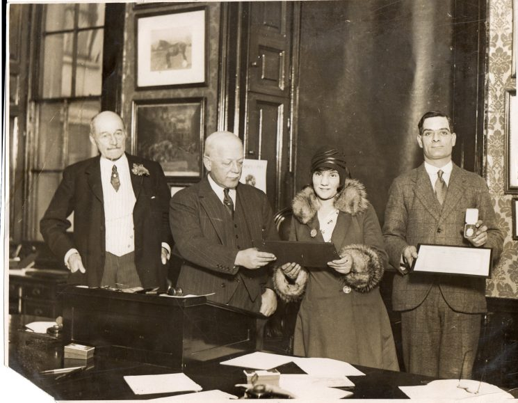 Police Constable  306 Charles Stafford Gowing receiving his bravery award. (Gloucestershire Police Archives URN 2308)