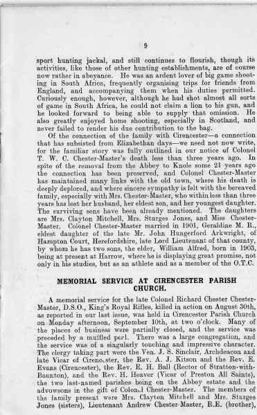 Page 11 of In Memoriam booklet produced on the death of  Lieutenant  Colonel Chester Master. (Gloucestershire Police Archives URN 2335)