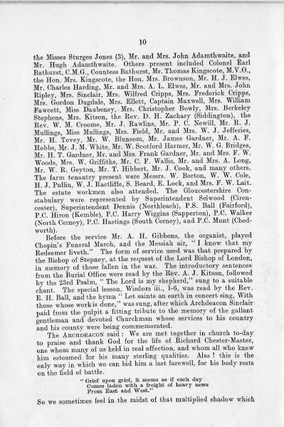 Page 12 of In Memoriam booklet produced on the death of  Lieutenant  Colonel Chester Master. (Gloucestershire Police Archives URN 2336)