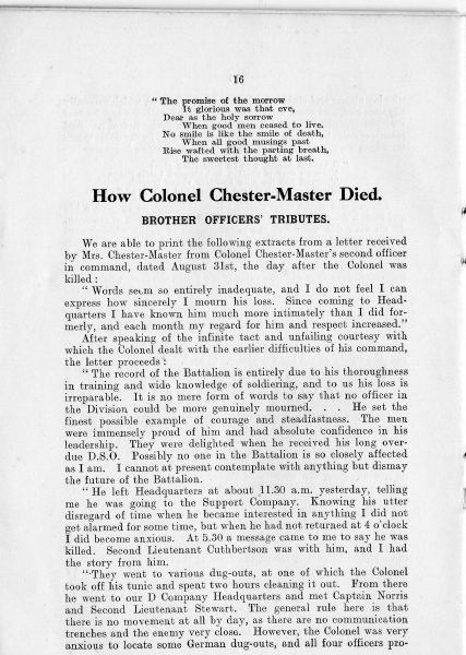 Page 18 of In Memoriam booklet produced on the death of  Lieutenant  Colonel Chester Master. (Gloucestershire Police Archives URN 2342)