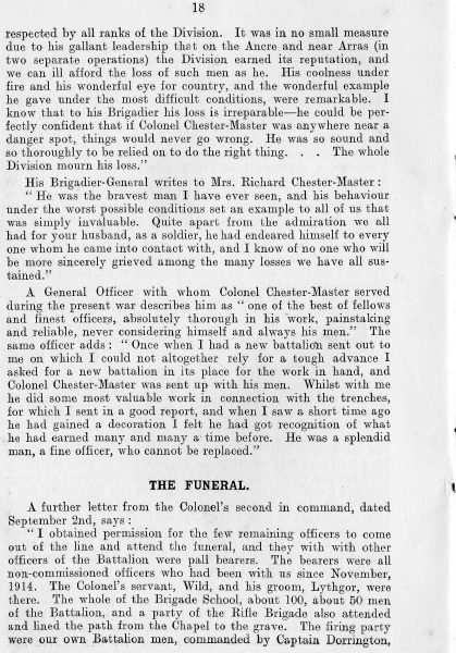 Page 20 of In Memoriam booklet produced on the death of  Lieutenant  Colonel Chester Master. (Gloucestershire Police Archives URN 2344)
