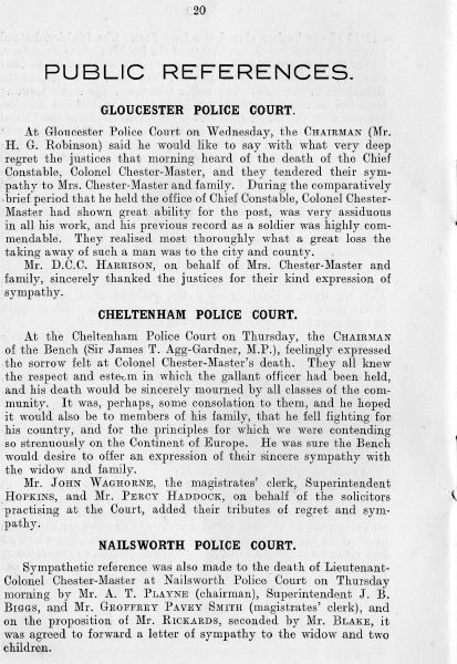 Page 22 of In Memoriam booklet produced on the death of  Lieutenant  Colonel Chester Master. (Gloucestershire Police Archives URN 2346)