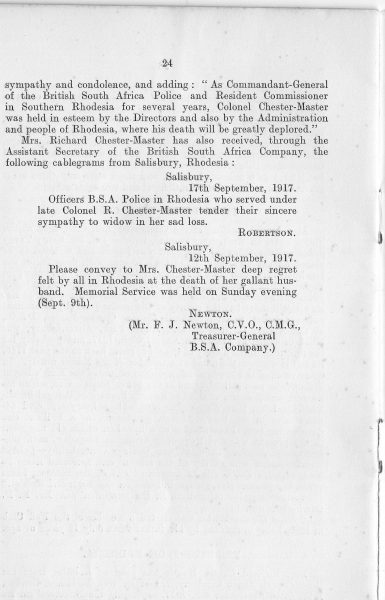 Page 26 of In Memoriam booklet produced on the death of  Lieutenant  Colonel Chester Master. (Gloucestershire Police Archives URN 2350)