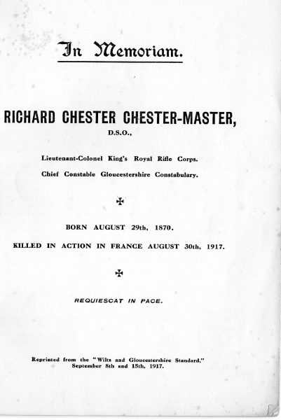 Page 2 of In Memoriam booklet produced on the death of  Lieutenant  Colonel Chester Master. (Gloucestershire Police Archives URN 2326)